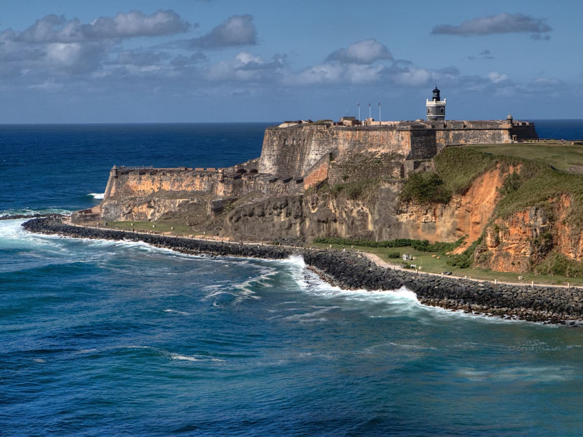 The Paseo del Morro is a seaside promenade in Old San Juan, skirting the old city walls.