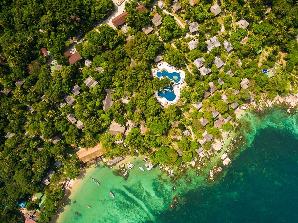 Sensi Paradise Beach Resort has beach bungalows in Koh Tao, as well as bungalows scattered up on a hillside.