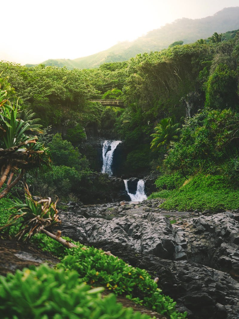 Water tumbles down tiers of pools to the ocean at the Seven Sacred Pools.