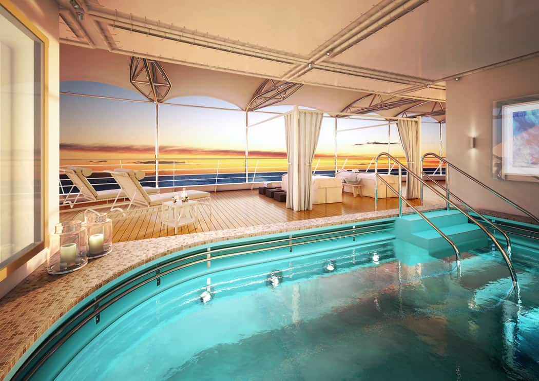 The open deck spa on the new Silver Moon cruise ship