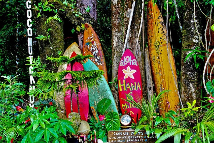 These surfboards are a colorful whimsical sight on the Road to Hana.