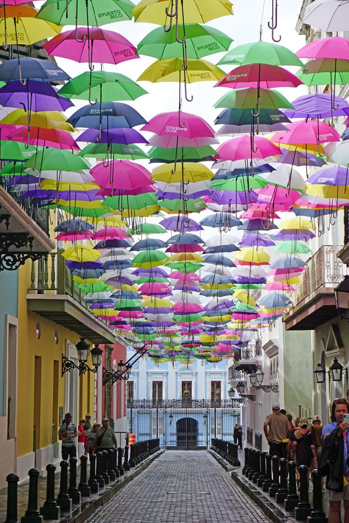 Be sure to stroll colorful Fortaleza Street to see the umbrella art when visiting Old San Juan, Puerto Rico!
