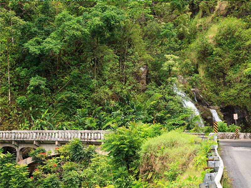 You can see the Three Bears Waterfalls right from the road - you don't even need to stop!