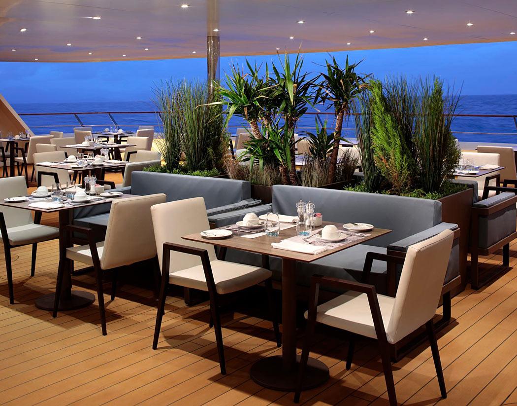 Alfresco dining on the new World Navigator cruise ship