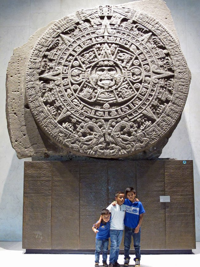 """25-ton Aztec """"sun"""" stone at National Museum of Anthropology, Mexico City"""