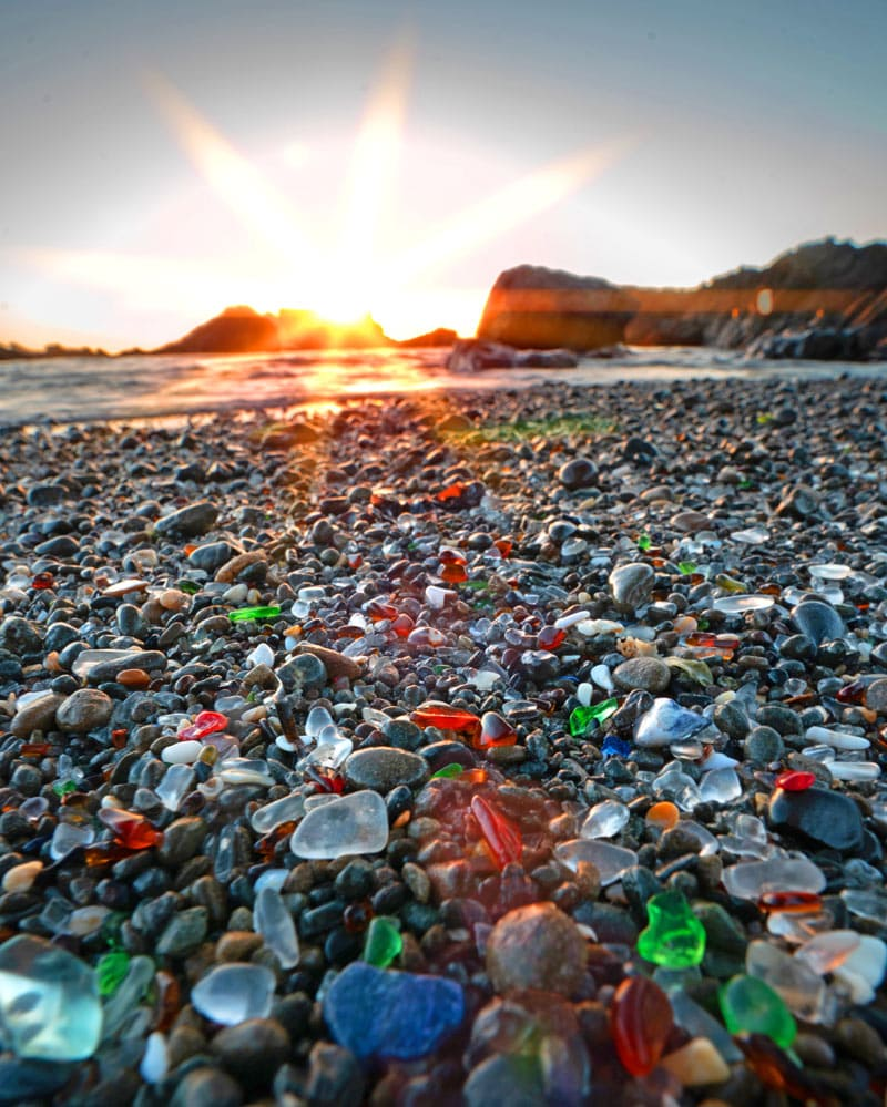 The colorful sea glass found on Glass Beach in Fort Bragg was once just broken glass trash.