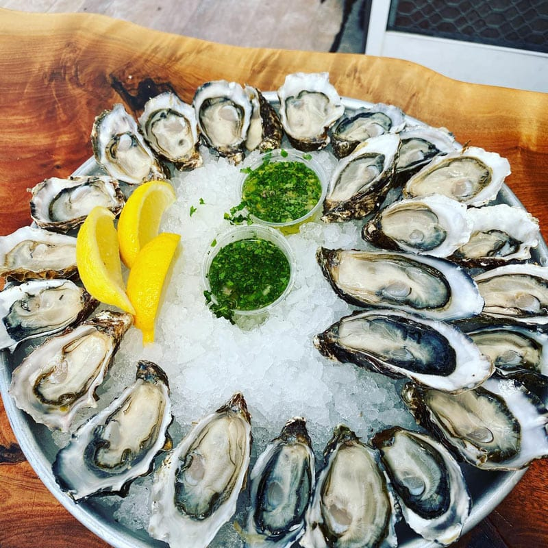 Perfectly shucked oysters at The Marshall Store