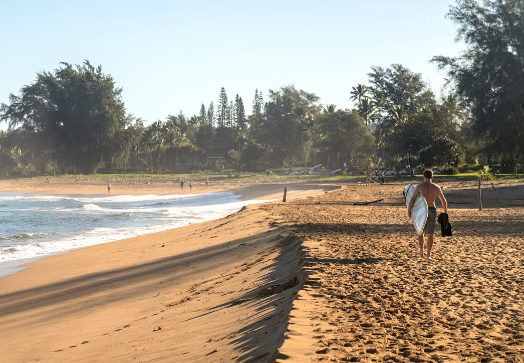 Hanalei Bay is a good place to learn to surf in Kauai.