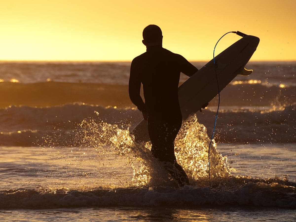 When the surf's up in Cayucos, surfers in wetsuits make their way to the water to ride the waves.
