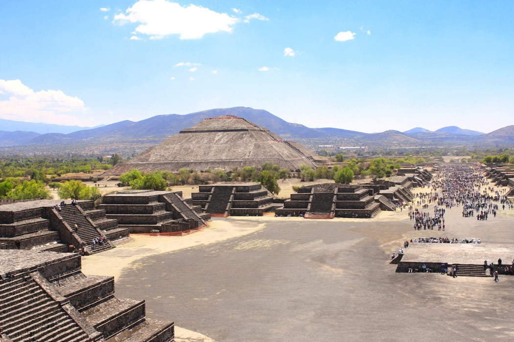 Teotihuacan, with the Pyramid of the Sun in the distance