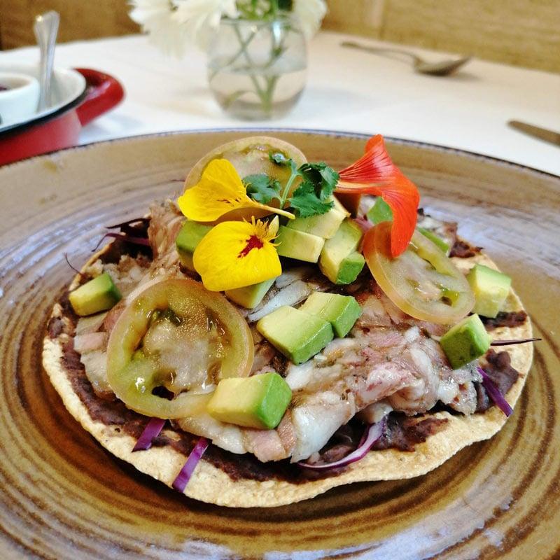 Creative tostada at Restaurant Nicos, Mexico City