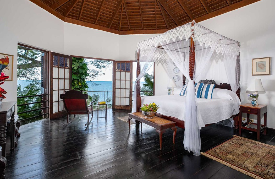 A bedroom in the Cottonwood Cottage at Bluefields Bay, Jamaica
