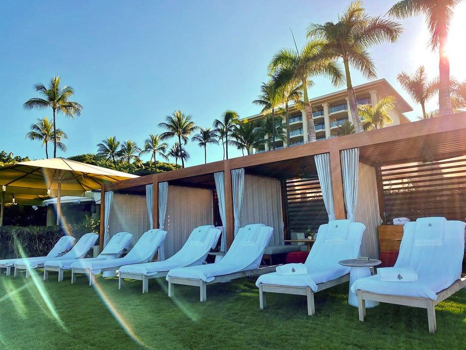 Ocean-view cabanas at the Four Seasons Resort Maui at Wailea