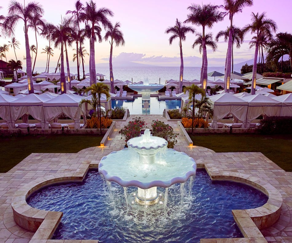 Most of the pool cabanas are complimentary at the Four Seasons Resort Maui.
