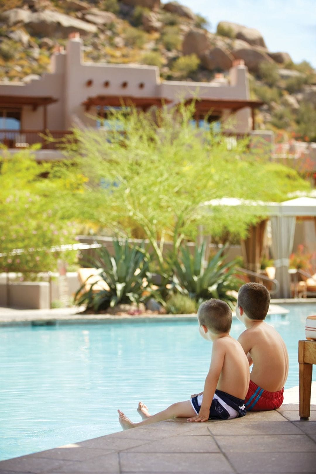 Family friendly, the Four Seasons in Scottsdale has a huge two-evel main swimming pool.