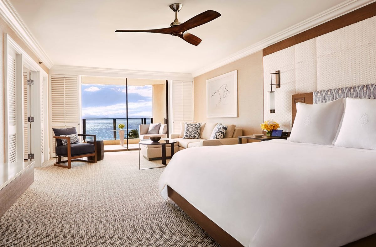 A 1,400 sq. ft. Club Oceanfront one-bedroom suite at the Four Seasons Resort Maui