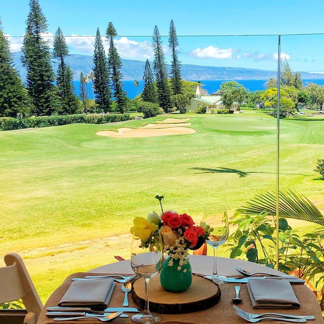 Lunch overlooking the fairway at The Ritz-Carlton, Kapalua