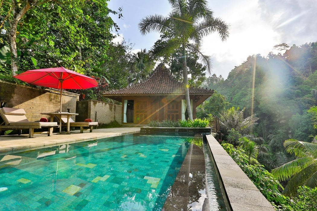 Villas and one wing of the Ayung Ubud hotel look out over the lush Ayung River gorge.