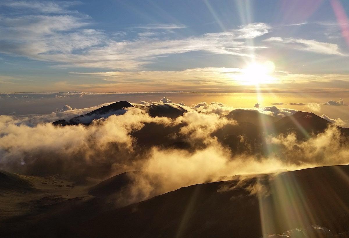 A romantic sunrise view of Haleakala