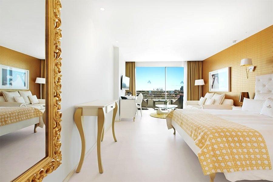 A white-and-gold suite at Portals Hills Boutique Hotel, Mallorca.