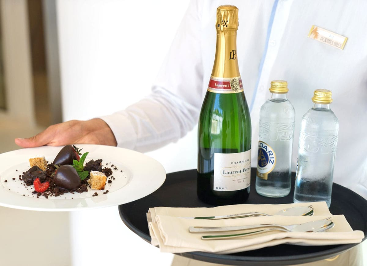 Champagne is the drink of choice at Portals Hills Boutique Hotel in Mallorca!
