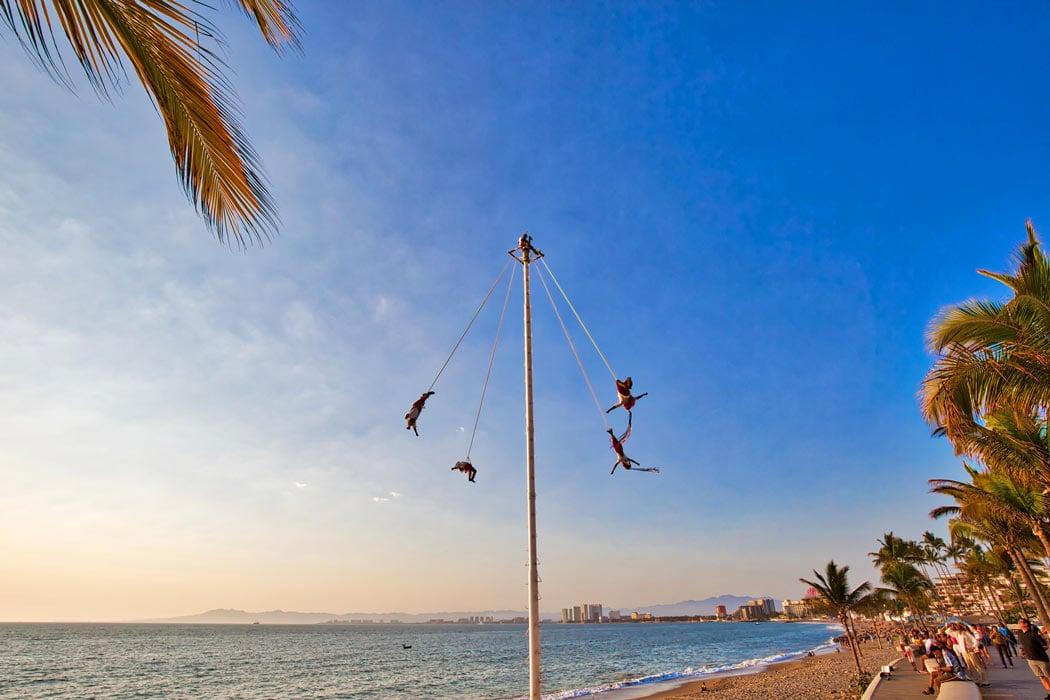 The Papantla Flyers on the Puerto Vallarta Malecon